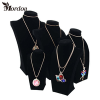 Fashion Necklace Stand Jewelry Black Model Mannequin Display Necklace Pendants Holder Jewelry Organizer Shelf Neck Bust