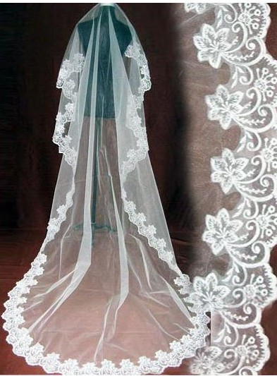 One Layer Lace Edge White Ivory Cathedral Wedding Veil Long Bridal Veil
