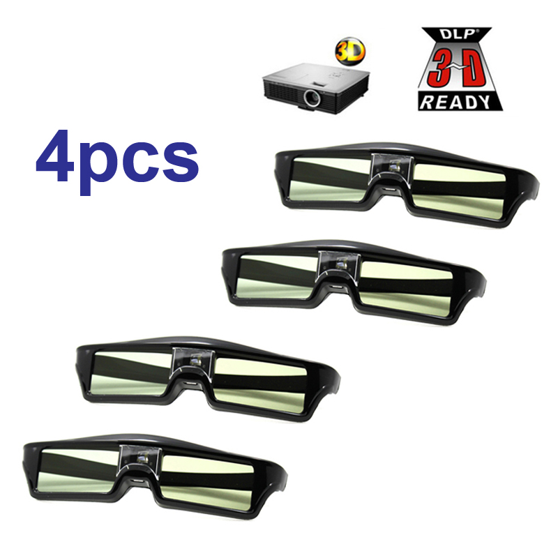 цена на Free Shipping!!4pcs/lots 3D glasses Active shutter rechargeable for BenQ W1070 Optoma GT750e DLP 3D Emitter Projector Glasses