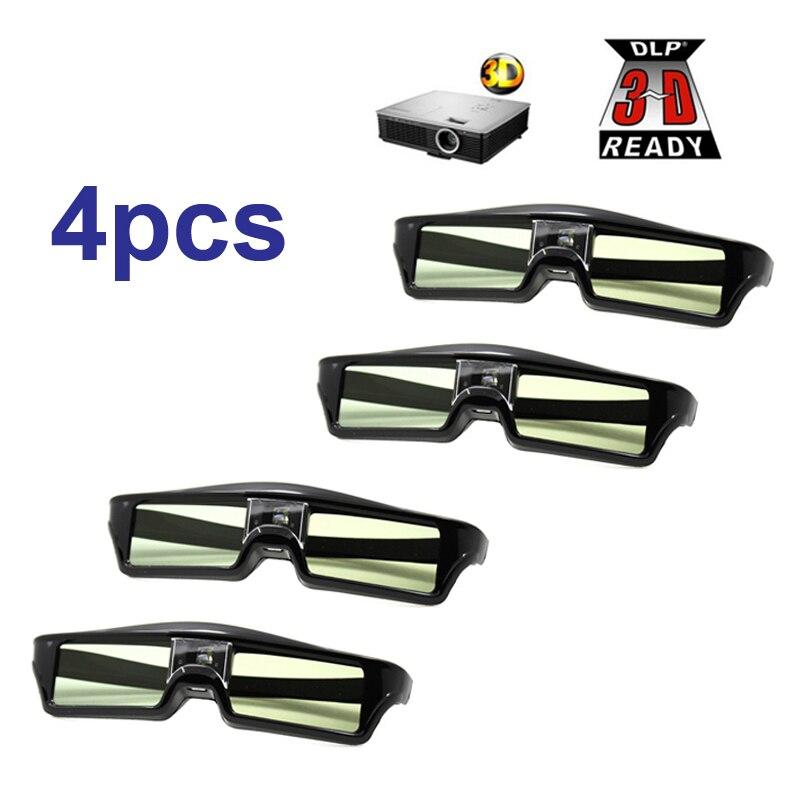 Livraison Gratuite!! 4 pcs/lots 3D lunettes à obturateur Actif rechargeable pour BenQ W1070 Optoma GT750e DLP 3D Émetteur Projecteur Lunettes