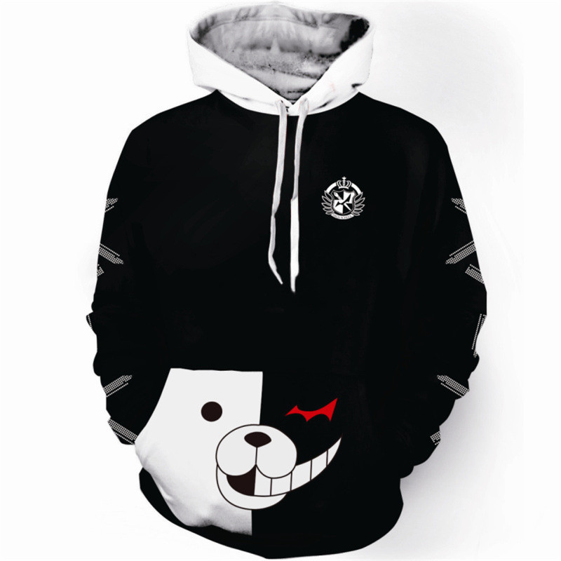 Reasoning Adventure Psp Game Spike Print Monokuma 3D Hoodie Men Hooded Sweatshirt Boys Pullover Tracksuit Jacket Sudadera Hombre