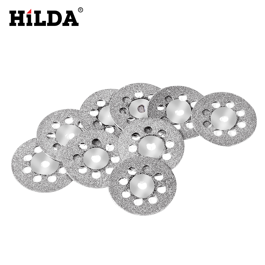 HILDA 10pcs/set 22mm Mini Saw Blade Silver Cutting Discs With 2X Connecting Shank For Dremel Drill Fit Rotary Tool