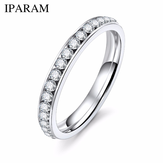IPARAM Silver Color Crystal Wedding Rings for Women Titanyum Men Stainless Steel