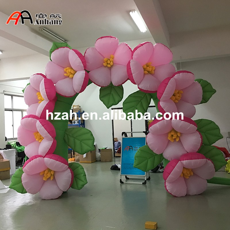 New design Wedding Inflatable Flower Arch with Leaves commercial sea inflatable blue water slide with pool and arch for kids