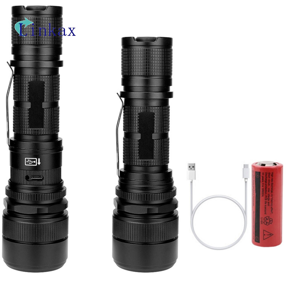 Tactical XHP70 P50 LED Flashlight USB Rechargeable Zoom Torch Camping Lamp Light