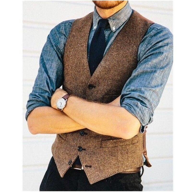 Gilet de costume pour hommes européens et américains en laine marron à chevrons motif tweed gilet slim gilet de costume pour hommes