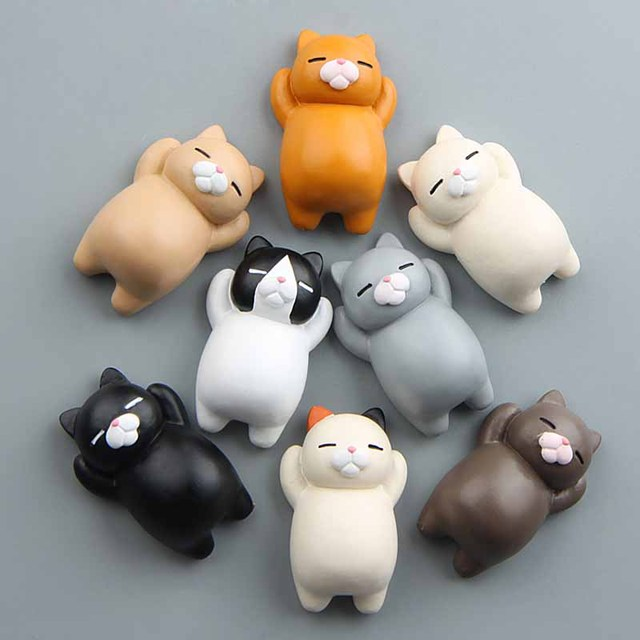 1PC Refrigerator Fat Cat Funny Cartoon Animals Cat Fridge Magnetic Sticker Refrigerator Holder Gift Home Decor Cute Magnets 5