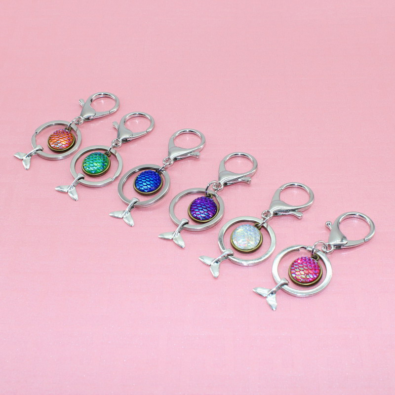 Hot sale 12pcs/lot little mermaid inspired key chain scales fishtail 25mm Inner Size Rhodium Color Key Chains Accessor