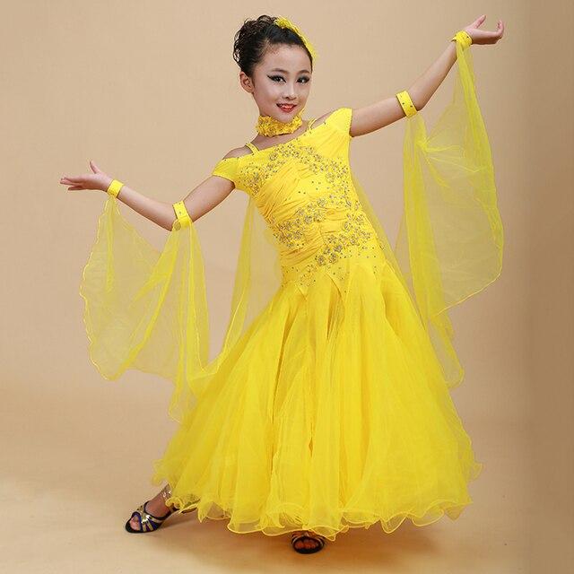 2018 Новая девушка детские Костюмы для бальных танцев платье для танцев 1 шт 6 Цвета качели Пряжа и Блёстки производительность Стандартный танец Roupa de ginastica
