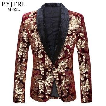PYJTRL mâle mode châle revers vin rouge velours or fleurs paillettes Blazer grande taille 5XL scène vêtements pour chanteurs costume veste