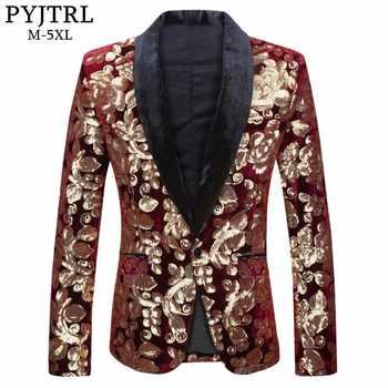 PYJTRL Male Fashion Shawl Lapel Wine Red Velvet Gold Flowers Sequins Blazer Plus Size 5XL Stage Clothes For Singers Suit Jacket - DISCOUNT ITEM  50% OFF Men\'s Clothing