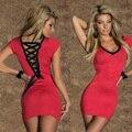 2016 sexy 6 color casual dress v-cuello al por mayor de 5 colores Vendaje Cortocircuito de La Manera del Verano de Las Mujeres Mini vestido túnica Vestidos W3440