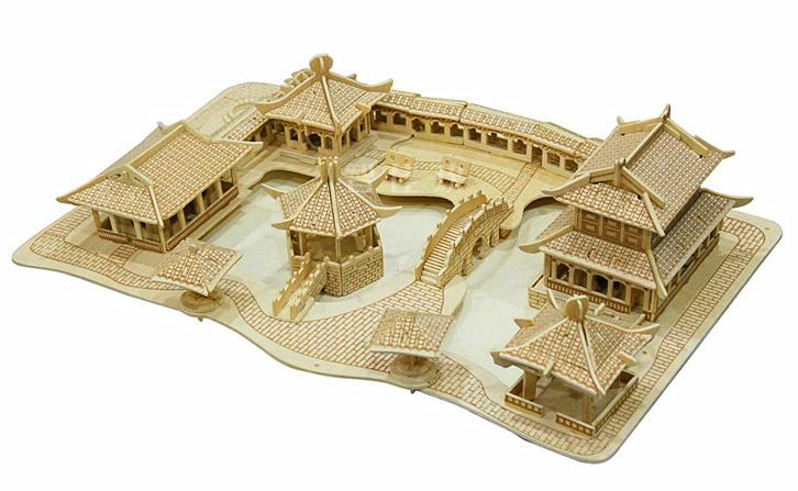 BOHS Building Toys Wooden 3D Puzzle Suzhou Gardens Building Scale Models DIY Handmade for Adult