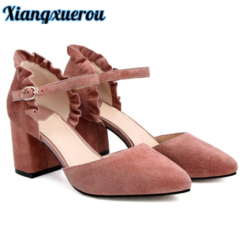 Xiangxuerou BGenuine leather sheepskin national pointy hollowed-out flounces with thick and adult Roman shoe women's shoes. vik max adult kids dark blue leather figure skate shoes with aluminium alloy frame and stainless steel ice blade