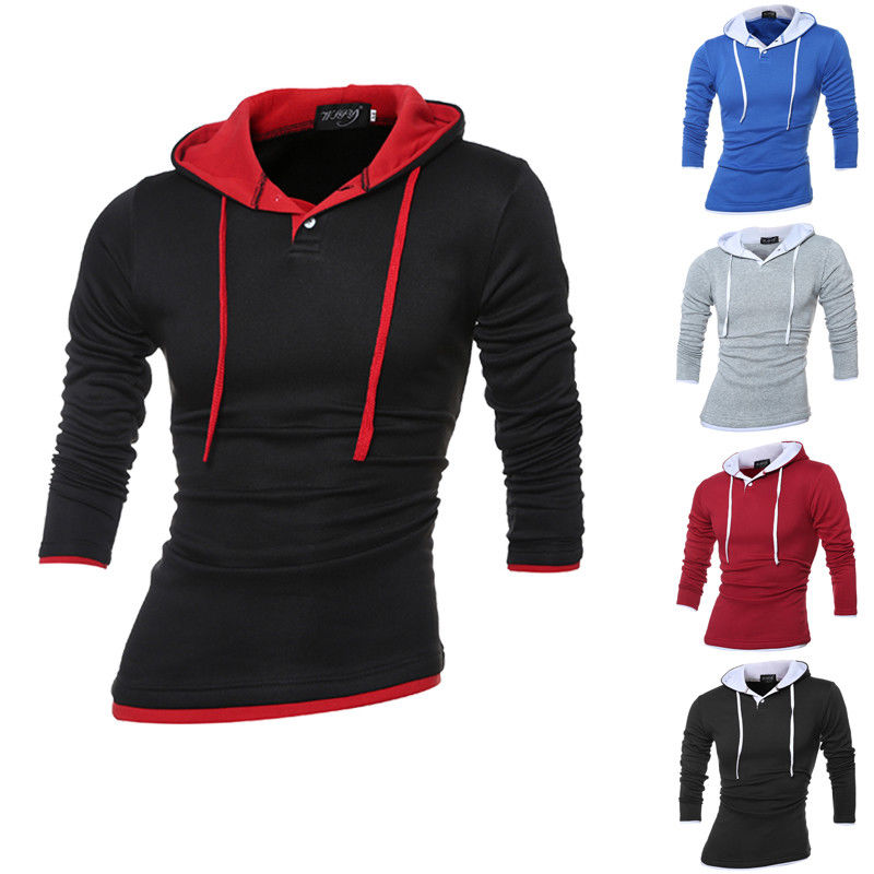 Mens Autumn New Long Sleeve Hooded Casual Pullover Hoodie Solid Color Male Clothes Sweatshirts
