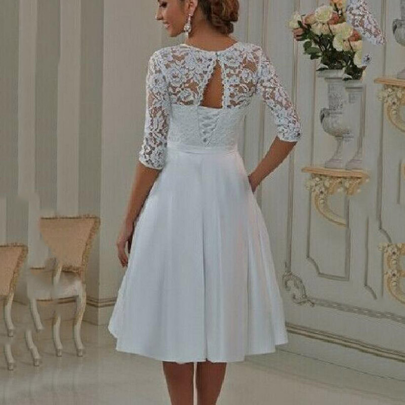 Vintage Style Half Sleeve Lace Chiffon Appliques Bow Sash Tea Length ...