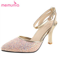 MEMUNIA Fashion Bling Buckle Stiletto High Heels Summer Shoes Elegant Prom Shoes 2017 New Arrive Women