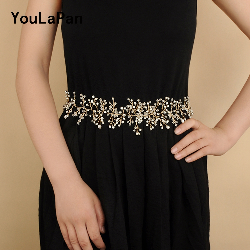 YouLaPan SH10-G Golden Wedding Belt Pearls Crystal Belt Handmade Rhinestone Belt For Wedding Accessories Golden Bridal Sash Belt