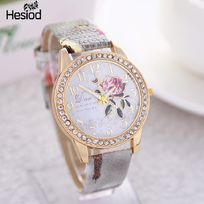 2017 new fashion chinese style peony pattern watch gilt digital quartz casual leather clock for Watches for girls