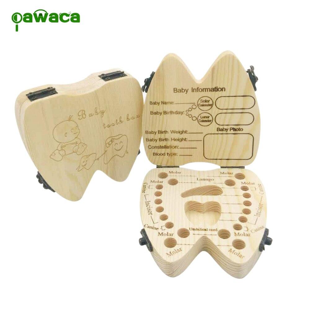 Kreative Baby Zahne Box Saver Storage Box Holz Kinder Kinder Zahne