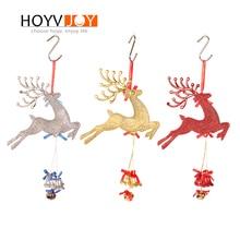Christmas Elk Deer Hanging Bells Day Party Tree Wall Home DIY Decoration HOYVJOY