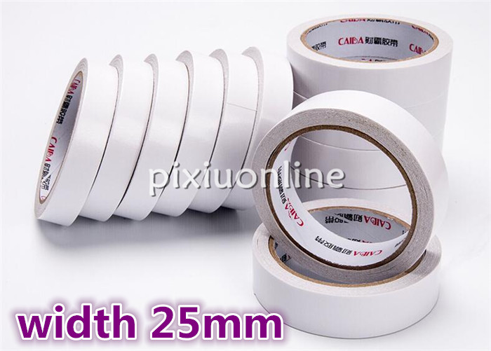 1pc DS192 White Double Sides Tape Width 25mm Lengthen Double Faced Adhesive Sticky Tape Sell at a Loss Free Shipping Russia 1pc easyinsmile steam sterilization indicator tape lead free latex free infection control 13mm 19mm 25mm 60yard