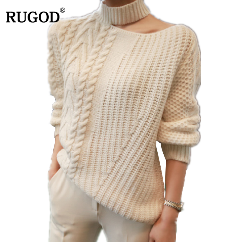 RUGOD 2018 New Women Sweaters And Pullover Fashion Irregular Halter Collar White Knitted Sweater For Women Befree Sueter Mujer