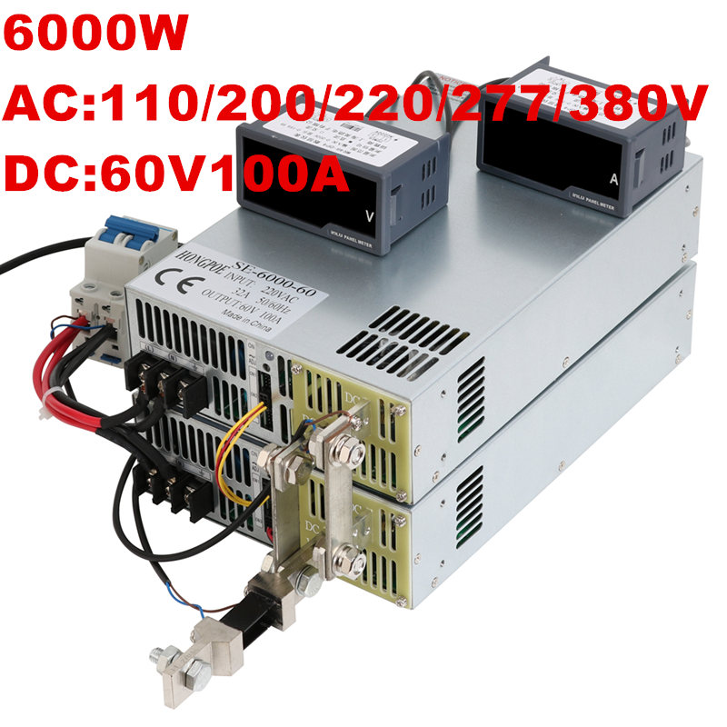 6000W 60V 100A 0-60V power supply 60V 100A AC-DC High-Power PSU 0-5V analog signal control DC60V 100A 110V 200V 220V 277VAC buk9640 100a