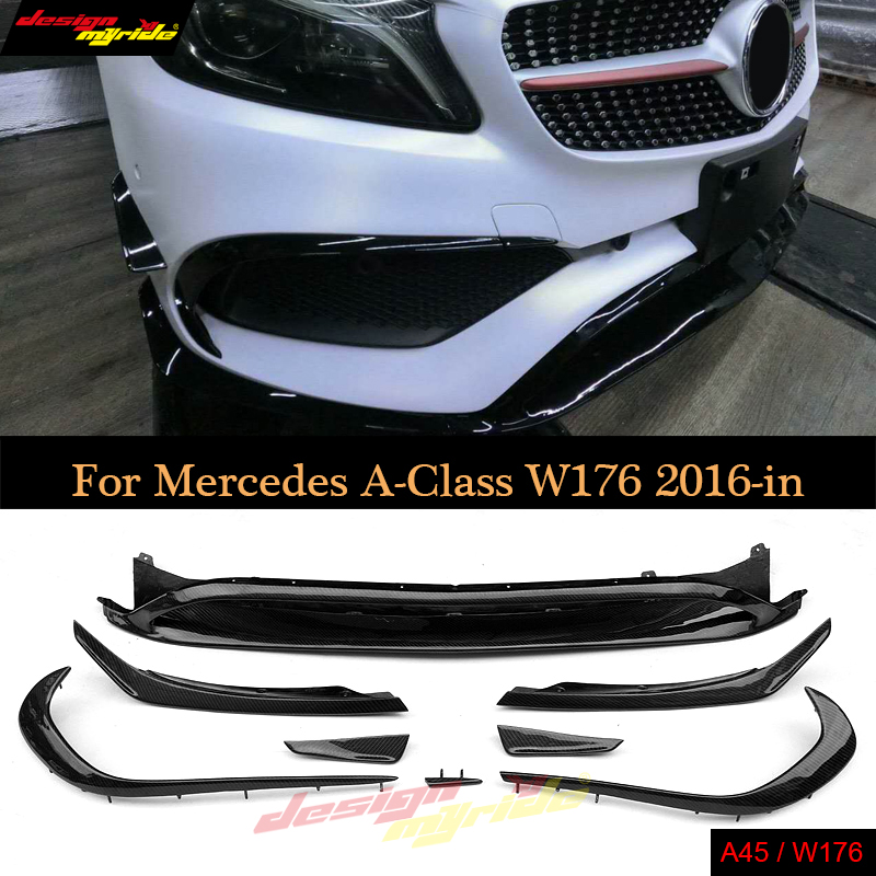 8Pcs//Set Black Front Lip with Canards Splitter for Mercedes A W176 A45 AMG 16-18