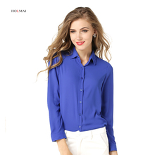 2016 Women Blouse Turn-down Collar Formal Lady Chiffon Shirt Long Sleeve Femme Blusa Cardigan Plus Size