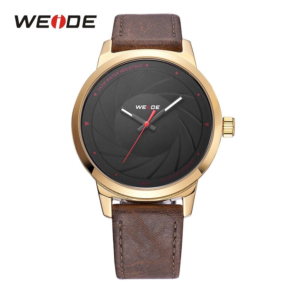 23ec52da4e9 Esportes dos homens WEIDE Luxo Brown Leather Strap Quartz Analógico Homem  Relógios Militar Relógio Marca de