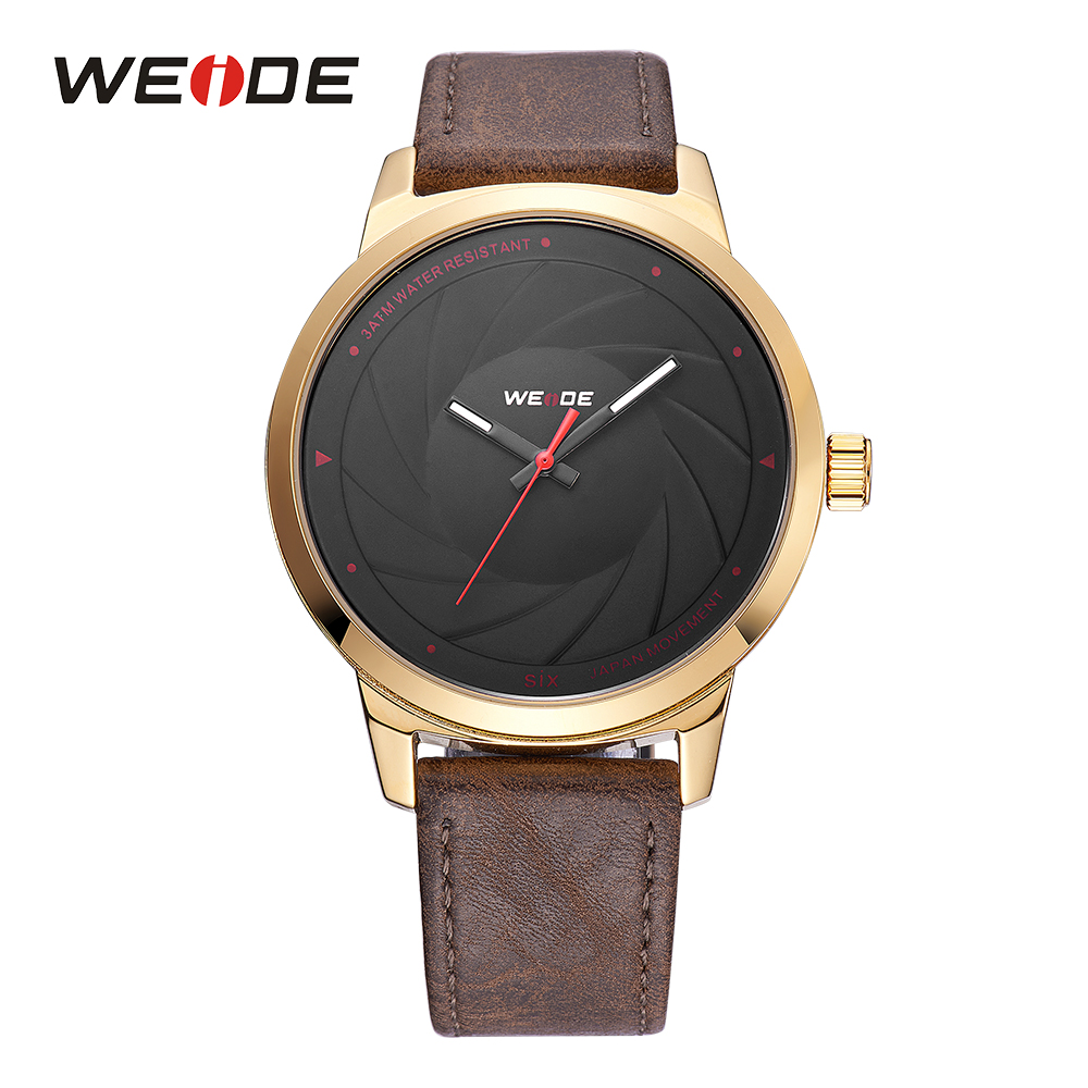 WEIDE Mens Sport Brown Genuine Leather Strap Band Watch Japan Quartz Movement Analog Man Watches Military Male Clock Buckle weide men sport watch black nylon strap quartz movement military watch analog round dial hardlex buckle mens clock wristwatches