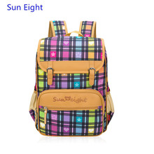 Sun Eight brand fashion purple plaid bag girls school bags orthopedic backpacks for children bag waterproof backpack book bag