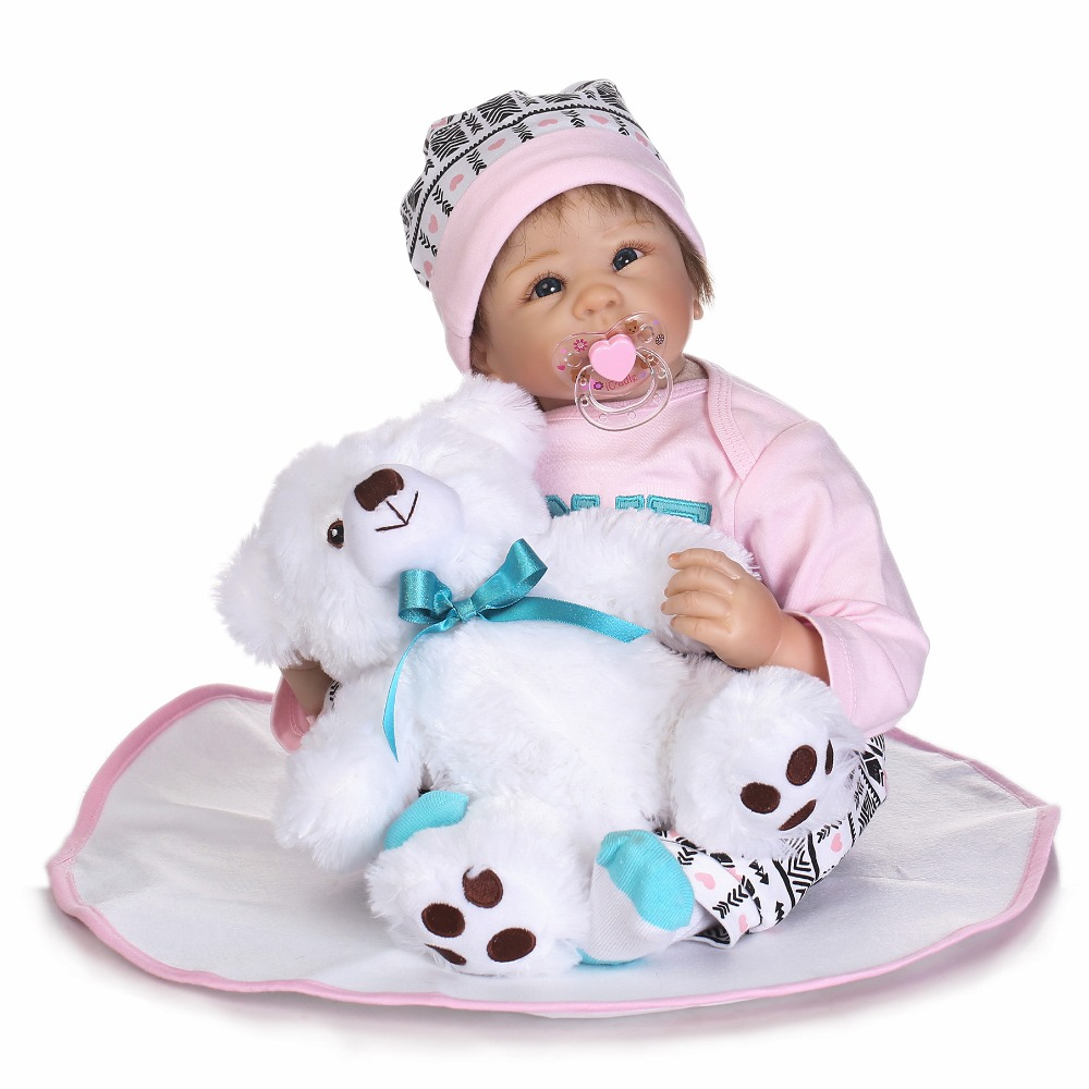 55cm Soft Silicone Reborn Baby Doll Toys Like Real 22inch Toddler Girls Babies Dolls Birthday Gift Present Kids Play House Toy 55cm full silicone body reborn baby doll toys like real 22inch newborn boy babies toddler dolls birthday present girls bathe toy