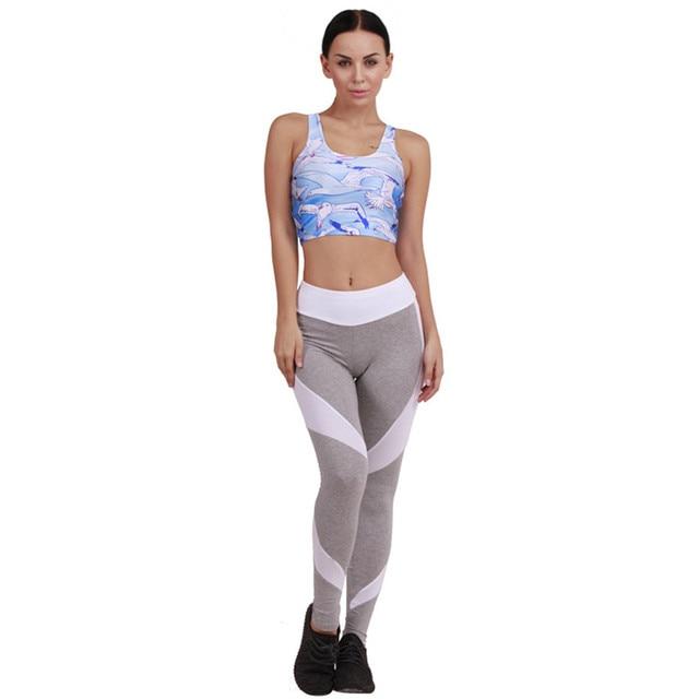 Хлопок Леггинсы Женщины 2016 Осень Зима Высокой Талией Серый Лоскутное Белые Гетры Мода Тренировки Одежда Для Женщин