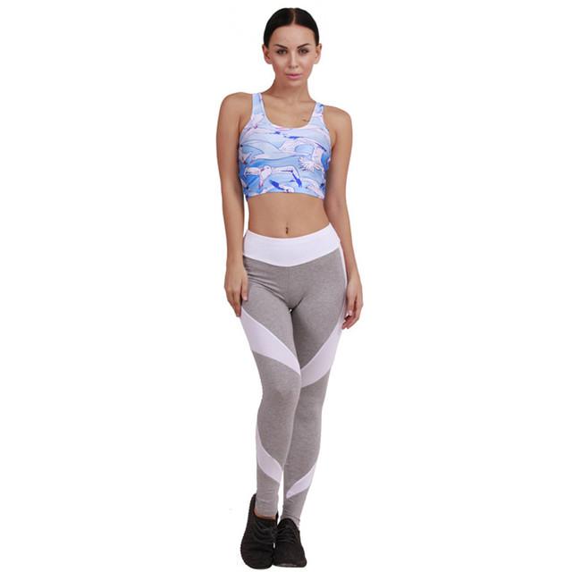 Algodão Leggins Mulheres 2016 Outono Inverno Cintura Alta Patchwork Cinza Branco Leggings Moda Roupas de Ginástica Para Mulheres