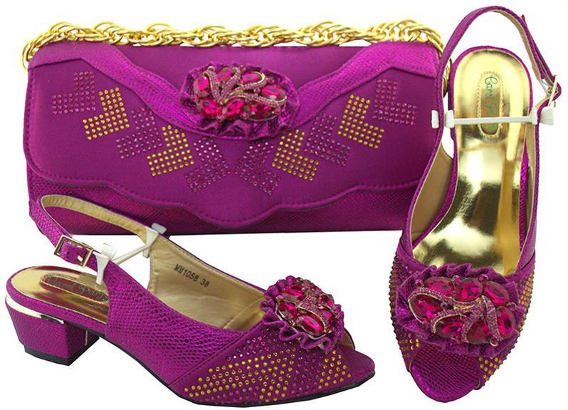 Новое поступление итальянский Обувь и Сумки определены самые последние фиолетовый африканский свадебные туфли и сумочка mm1058 Обувь на сред...