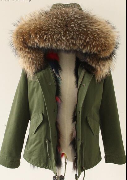 1afc7194b Women s Army Green Winter Parka Jacket Mori Girl Real Raccoon Fur ...