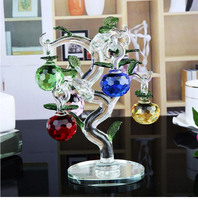 Crystal Glass Apple Tree Ornaments with 6pcs Hanging Faceted Apples Home Decor Figurine Christmas New Year Crafts Gifts Souvenir