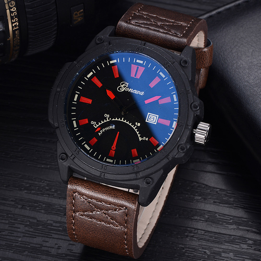 Fashion GONEWA Male watches luxury Men Date Stainless Steel Leather Analog Quartz Sport Wrist Watch dropshipping luxury watch superior new fashion men s luxury concept stainless steel analog quartz sport wrist watch wholesale free shipping