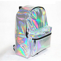 New Tide Cute Silver Laser Reflective Backpack Harajuku Beautiful Girls Personality Small Pu School Bag Student