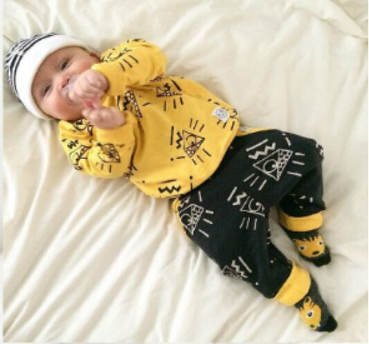 ST205  2017 Newborn baby boy clothes baby clothes unisex yellow  color long-sleeved shirt+ pants 2 pcs. bebe girl clothing set 2018 spring newborn baby boy clothes gentleman baby boy long sleeved plaid shirt vest pants boy outfits shirt pants set