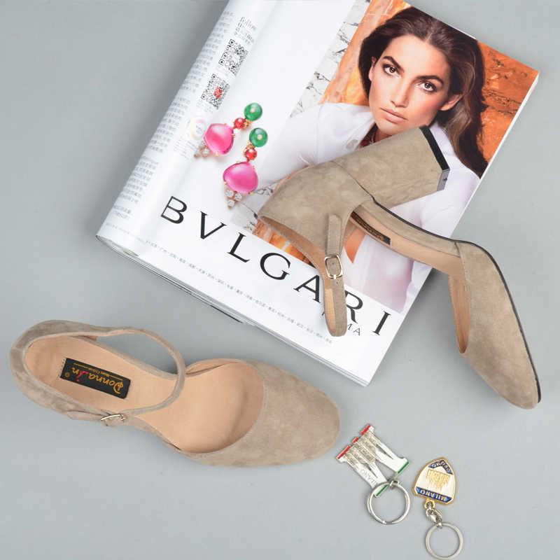 Donna-in หนังนิ่มหนังรองเท้าแตะผู้หญิงฤดูร้อน 2020 รองเท้าส้นสูงสแควร์ Toe รองเท้าส้นสูงรองเท้าแตะหัวเข็มขัดสำนักงานผู้หญิงรองเท้า