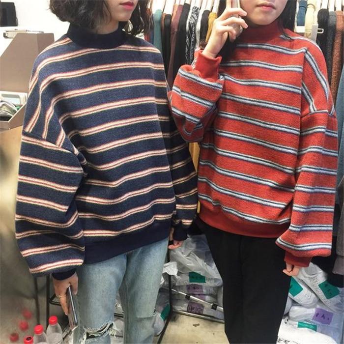 Ulzzang Spring Winter Women T Shirt Long Sleeve Casual O Neck Striped T-shirt Ladies Tops Korean Outerwear Female Loose Shirt casual slash neck long sleeve loose fit women s t shirt