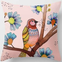 цены Hot sale trees birds pillow case beauty flowers square pillow cases home  creative pattern bedroom pillow covers size 45*45cm