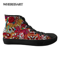 WHEREISART 2019 Trendy Spanish Dance Print High Top Women Sneakers Flats Leisure Lace up Spring Womens Vulcanized Canvas Shoes