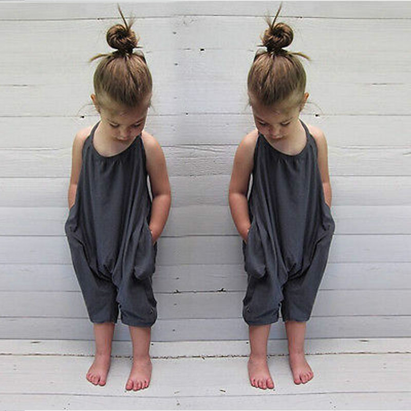 2019 Summer Baby Kids Girls   Romper   Jumpsuit Halter Sleeveless Harem Trousers Casual Baby   Romper   Toddler Baby Girls Clothing