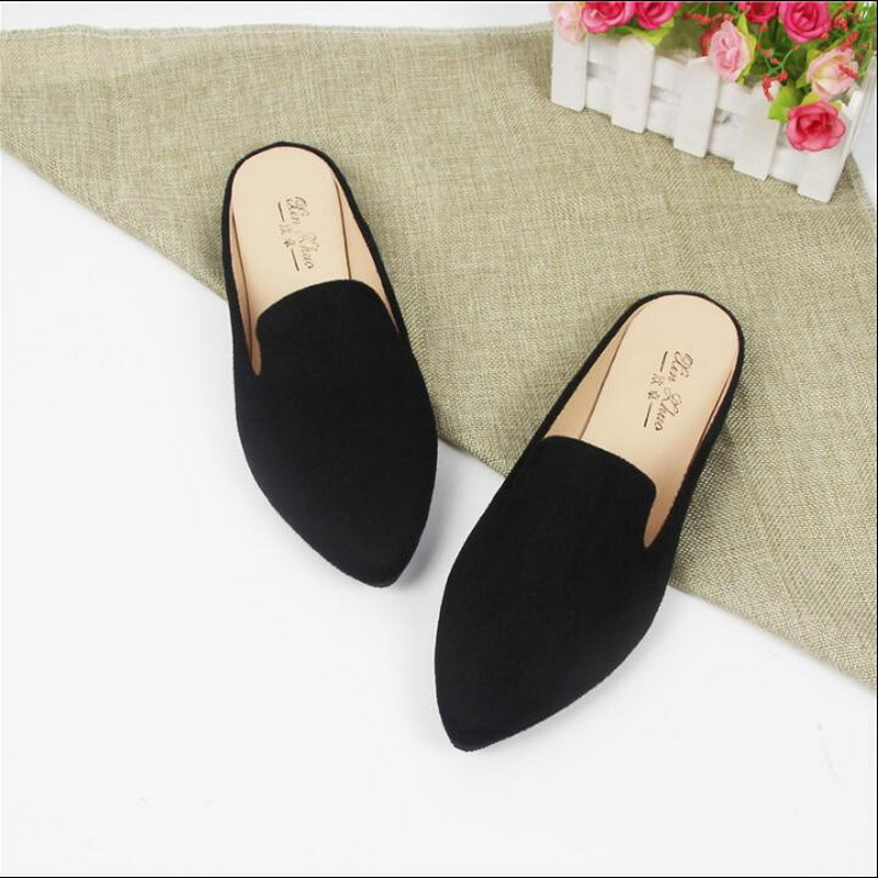 a1af6d0fd4a0e2 Detail Feedback Questions about Summer Autumn Pointed Toe Flat Woman  Slippers Slip On Half Shoes Loafers Mules Flip Flops plus size 31 44 on  Aliexpress.com ...
