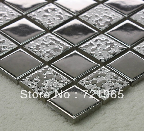 silver metal glazed ceramic wall tile kitchen backsplash