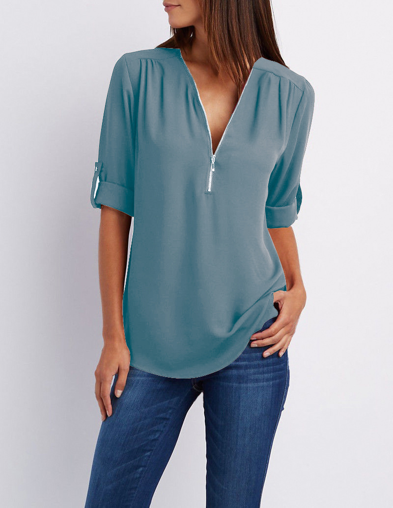 LOSSKY fashion v neck short sleeve summer chiffon womens tops 8